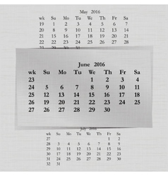 Calendar month for 2016 pages june vector