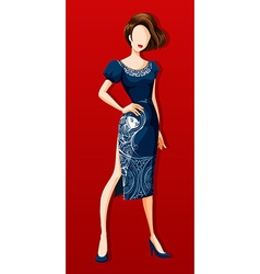 Female model wearing blue dress vector