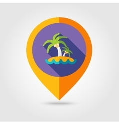 Island with palm trees flat mapping pin icon vector