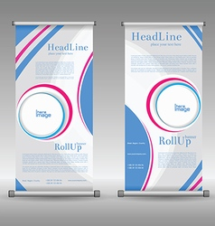 Roll up display with stand banner template design vector
