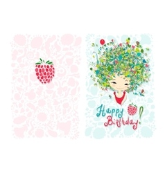 Birthday card design with holiday girl vector