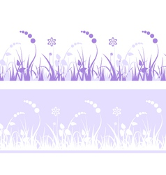 Grass pattern with flowers vector