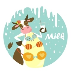 Funny cow with glass of milk vector
