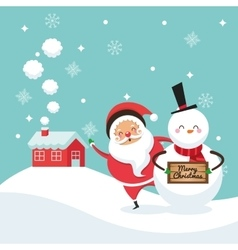 Santa and snowman cartoon icon merry christmas vector