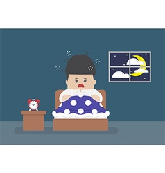 Businessman is wide awake in middle of night vector