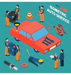 Auto Service Isometric Icons Set vector image vector image
