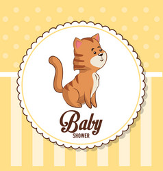 Baby shower card invitation with cute tiger vector