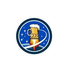 Beer Mug Rocket Ship Space Circle Retro vector image vector image