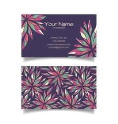 Business card template with floral pattern vector image vector image