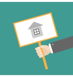 Businessman hand holding house card flat vector