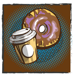 coffee and donut pop art comics retro style vector image