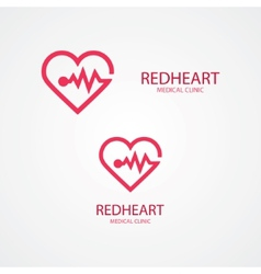 Combination of heart and pulse logo vector image vector image