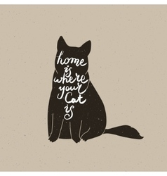 Cute cat character and quote vector