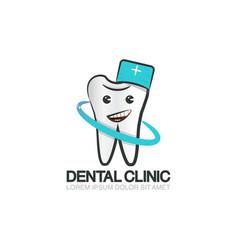 dental clinic logo template cute cartoon tooth vector image