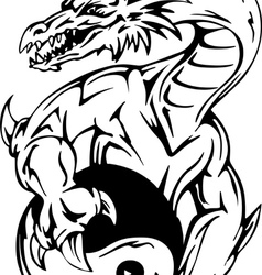 Dragon tattoo with yin-yang sign vector