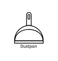Dustpan simple line icon cleaning thin linear vector