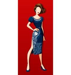 Female model wearing blue dress vector