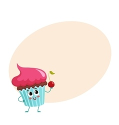 Funny cupcake character with pink cream topping vector