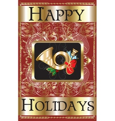 happy holidays gold vector image vector image