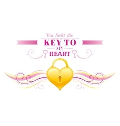Happy Valentines day border locked golden heart vector image