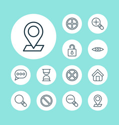 Icons set collection of glance pinpoint vector