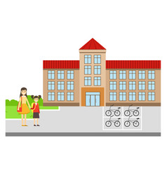 Mother and daughter outside the school building vector