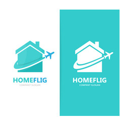 Real estate and plane logo combination vector