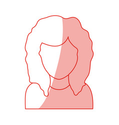 red silhouette shading faceless half body woman vector image vector image