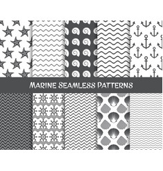 sea and marine seamless patterns vector image vector image