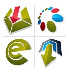 Set of abstract geometric symbols 3d unusual e vector image