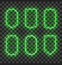 Set of realistic glowing green neon frames vector