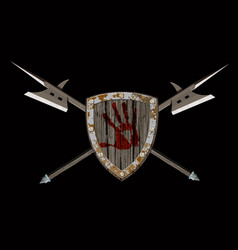 Shield with two halberds vector