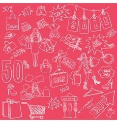 Shopping doodles Sale set Hand drawn style vector image