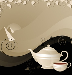 Teapot and cup on the background of the desert vector image