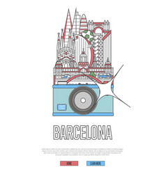 Travel barcelona poster with camera vector