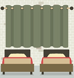 Twin beds in front of curtain and brick wall vector