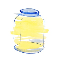 Watercolor blue and yellow jar vector