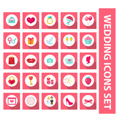Wedding set of icons design elements flat style vector