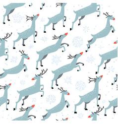 winter seamleaa pattern with cute jumping deers vector image