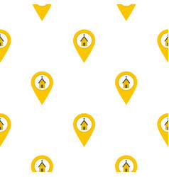 Yellow map pointer with church sign pattern flat vector