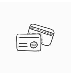 Identification card sketch icon vector