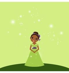 Beautiful cartoon princess on green background vector image