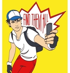 Sportsman with smartphone picture eps 10 vector