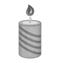 Festive candle icon black monochrome style vector