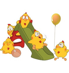 Chickens and a slide cartoon vector