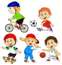 Funny boy cartoon character doing sport vector image