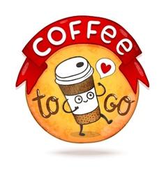 Cute cartoon coffee badge vector image