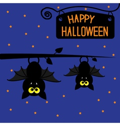 Two hanging bats at night halloween card vector