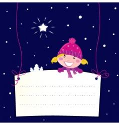 Christmas girl holding banner vector image