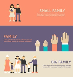 Small family family and big family walk flat vector